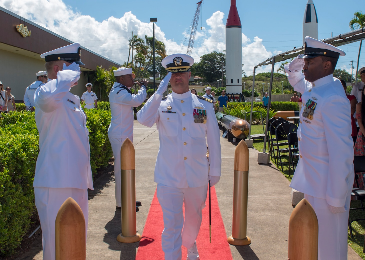 PEARL HARBOR (Aug. 31, 2018) - Cmdr. Chance Litton is piped aboard during the Los Angeles-class fast-attack submarine USS Chicago (SSN 721) change of command ceremony at the USS Bowfin Submarine Museum and Park in Pearl Harbor, Hawaii, Aug. 31. (U.S. Navy photo by Mass Communication Specialist 2nd Class Shaun Griffin/Released)