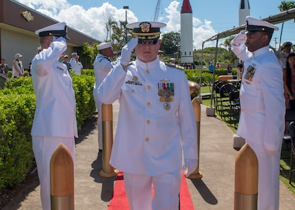 PEARL HARBOR (Aug. 31, 2018) - Cmdr. Brian Turney is piped aboard during the Los Angeles-class fast-attack submarine USS Chicago (SSN 721) change of command ceremony at the USS Bowfin Submarine Museum and Park in Pearl Harbor, Hawaii, Aug. 31. (U.S. Navy photo by Mass Communication Specialist 2nd Class Shaun Griffin/Released)