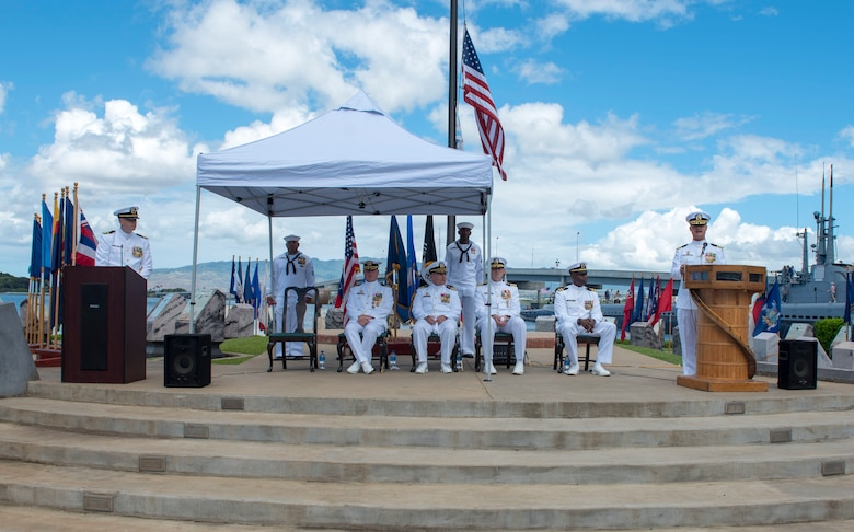 PEARL HARBOR (Aug. 31, 2018) - Cmdr. Chance Litton addresses guests after assuming command of the Los Angeles-class fast-attack submarine USS Chicago (SSN 721) during Chicago's change of command ceremony at the USS Bowfin Submarine Museum and Park in Pearl Harbor, Hawaii, Aug. 31. (U.S. Navy photo by Mass Communication Specialist 2nd Class Shaun Griffin/Released)