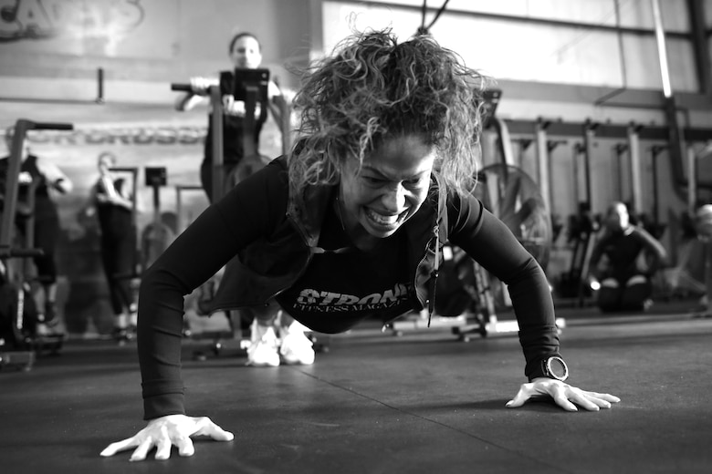 Esmin Feliciano participates in a Strong Camp workout Nov. 10, 2018, in Suffield, Connecticut. The camp was put on by Tech. Sgt. Dacia Lucas, 104th Maintenance Group aircraft engine mechanic, and empowered women through the promotion of resilience. (U.S. Air National Guard photo by Airman 1st Class Randall S. Burlingame)
