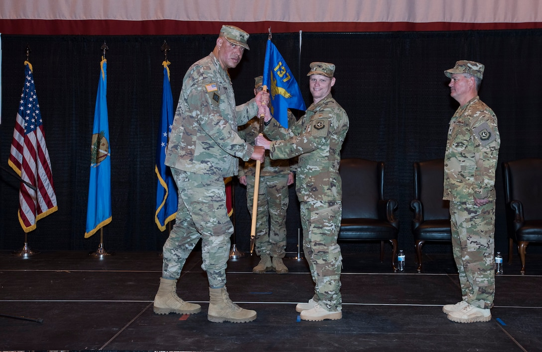 U.S. Air Force Col. Daniel R. Fowler assumes command of the 137th Special Operations Wing from U.S. Army Maj. Gen. Michael C. Thompson, Oklahoma Adjutant General at Will Rogers Air National Guard Base, Okla., Dec. 1, 2018. Fowler is the 17th commander of the Wing it its history and is only the second wing commander since coversion to a special operations wing in 2015. (U.S. Air National Guard photo by Tech. Sgt. Caroline Essex/Released)