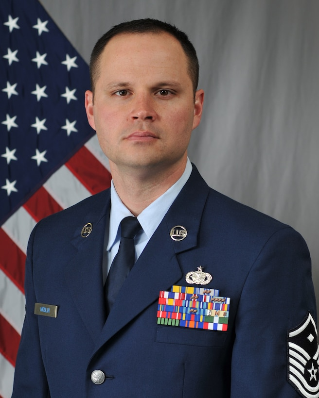 Master Sgt. Trevor Modlin, 1st Sgt. for the Logistics Readiness Squadron, has been selected as the 2018 1st Sgt. of the Year for the 185th Air Refueling Wing. Modlin will compete at the state level for a chance to go on to state completion. Official Photo by Senior Master Sgt. Vince De Groot.