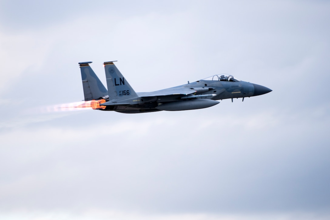 An F-15C Eagle assigned to the 493rd Fighter Squadron takes off for a sortie during the NATO Tactical Leadership Programme 18-4 at Amendola Air Base, Italy, Nov. 29, 2018. With over four decades of history, TLP has become the focal point for NATO's Allied Air Forces tactical training, developing knowledge and leadership skills, necessary to face today's air tactical challenges. (U.S. Air Force photo/ Senior Airman Malcolm Mayfield)