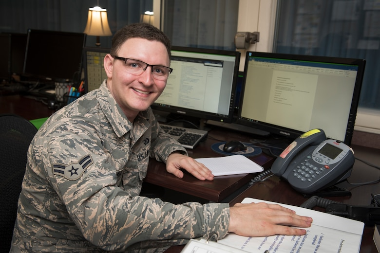 Airman 1st Class Johnathon Dorman is a command and control specialist for the 167th Airlift Wing and is the wing's Airman Spotlight for Dec. 2018. (U.S. Air National Guard photo by Senior Master Sgt. Emily Beightol-Deyerle)