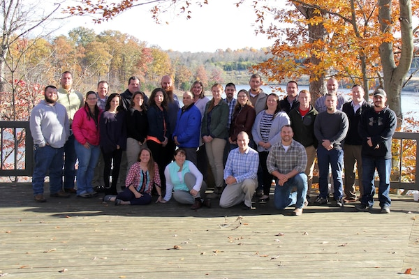 Park rangers from throughout the U.S. Army Corps of Engineers Great Lakes and Ohio Rivers Division Community of Practice Advisory Board pose Nov. 7, 2018 during the second biennial workshop at Caesar Creek Lake in Waynesville, Ohio.