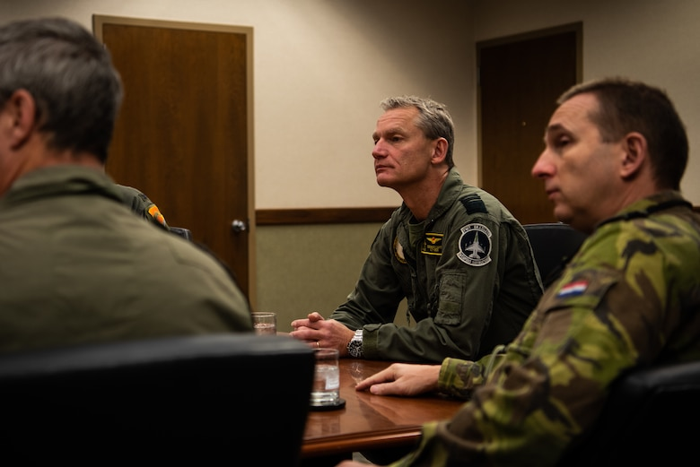 Lt. Gen. Dennis Luyt, Royal Netherlands Air Force commander, receives a briefing about Luke's heritage, Nov. 21, 2018 at Luke Air Force Base, Ariz.