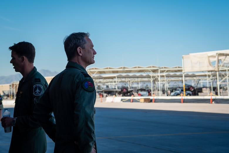 Lt. Gen. Dennis Luyt, Royal Netherlands Air Force commander, looks out over the flightline where the Dutch F-35A Lightning IIs will be housed, Nov. 21, 2018 at Luke Air Force Base, Ariz.