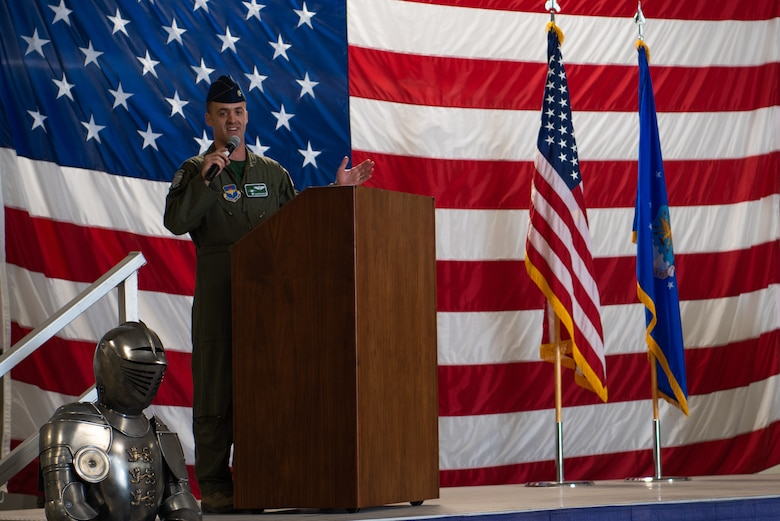 Lt. Col. Robert Miller, 308th Fighter Squadron commander, provides remarks at an assumption of command ceremony, Nov. 30, 2018, at Luke Air Force Base, Ariz.