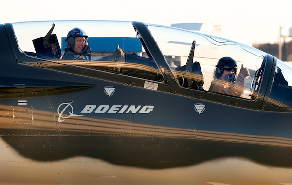 Maj. Gen. Patrick Doherty (left), 19th Air Force commander, taxies out to the flightline with a Boeing pilot for a T-X trainer familiarization sortie in St. Louis, Nov. 27, 2018. The T-X trainer will provide student pilots with the skills needed to transition to 4th and 5th generation fighter and bomber aircraft.