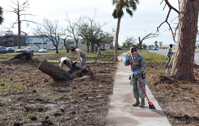 Task Force Talon II Airmen clean the grounds in the dormitory area at Tyndall Air Force Base, Fla., Nov. 29, 2018. Task Force Talon II is responsible for clearing debris and cleaning various parts of the base to include parts of the flightline and dormitories. (U.S. Air Force photo by Senior Airman Cody R. Miller)
