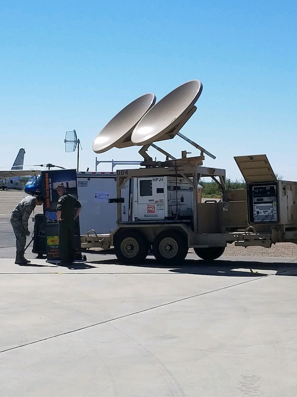 The 746th Test Squadron's High Powered Jammer, which is used for navigational warfare, was on display at the New Mexico Aviation Aerospace Association Career Expo held recently at Alamogordo-White Sands Regional Airport. (U.S. Air Force photo)