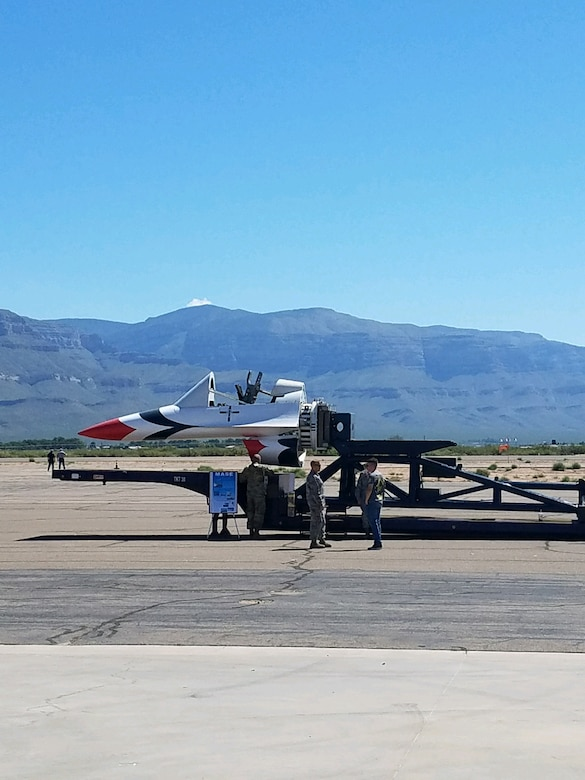 During the 2018 New Mexico Aviation Aerospace Association Career Expo, members of the 846th Test Squadron spoke to students about the F-16 Front Fuselage sled, shown here, which is used for egress testing on the Holloman High Speed Test Track. (U.S. Air Force photo)