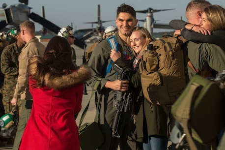 Marines and Sailors from Medium Tiltrotor Squadron 365, with the 24th Marine Expeditionary Unit for Exercise Trident Juncture 2018, land at their homecoming reception at Marine Corps Air Station New River, N.C., Nov. 29, 2018.