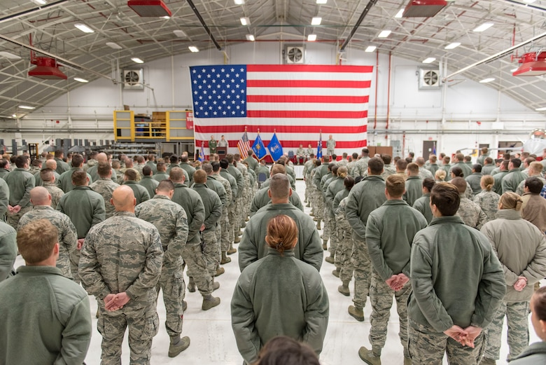 Airmen from the 115th Maintenance Group, Truax Field, Wisconsin, stand in formation during the 115th MXG change of command ceremony December 2, 2018, at the 115th Fighter Wing on Truax. Col. Christopher Green is reliquishing command of the 115th MXG to Lt. Col. Wilhelmina Panzer. (U.S. Air National Guard photo by Airman 1st Class Cameron Lewis)