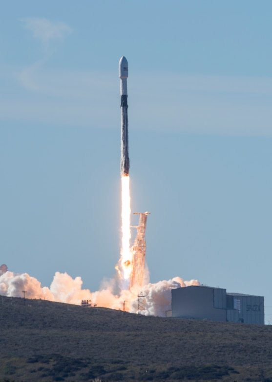 A SpaceX Falcon 9 rocket, carrying the Spaceflight SSO-A: SmallSat Express, launches from Space Launch Complex-4E at Vandenberg Air Force Base, CA, on Dec. 3, 2018 at 10:34 a.m. PST. (U.S. Air Force photo by Senior Airman Clayton Wear/Released)