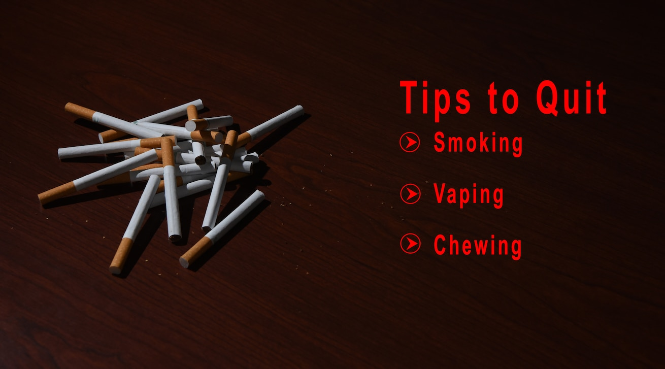 Graphic tips to quit tobacco. (U.S. Air Force Graphic by Airmen 1st Class Braydon Williams)