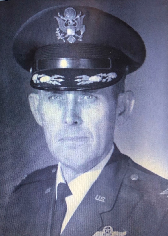 The late retired Col. Delbert L. Mueller, 375th Aeromedical Airlift Wing deputy commander at the time, poses for an official photo after being promoted to the rank of colonel at Scott Air Force Base, Ill.