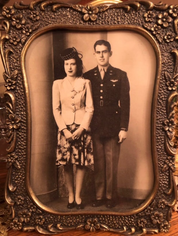 The late retired Col. Delbert L. Mueller and his wife Mary Rose Mueller pose for a photo on their wedding day in 1944.