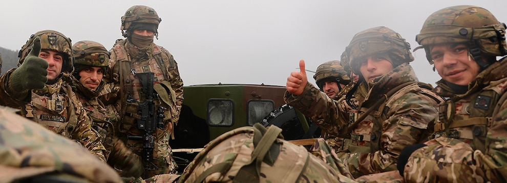 Members of the Georgian Army are in good spirits as they head to the training area in support of Combined Resolve XI in Hohenfels, Germany, Dec. 2, 2018.