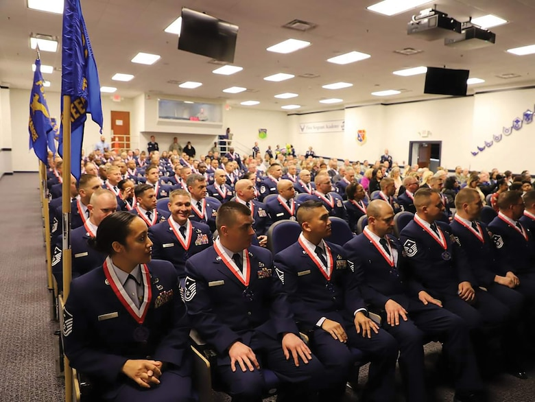 Master Sgts. Joseph Andrews, 445th Aeromedical Staging Squadron first sergeant, Shatasha Estes, 445th Operations Support Squadron first sergeant and David Griffith, 445th Maintenance Group first sergeant, were among 98 Airmen who graduated from the Air Force's First Sergeant Academy Nov. 16, 2018.