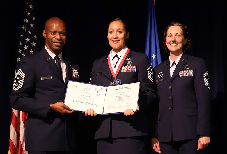 Shatasha Estes, 445th Operations Support Squadron first sergeant, was among 98 Airmen, including two others from the 445th Airlift Wing, who graduated from the Air Force's First Sergeant Academy Nov. 16, 2018.