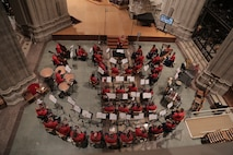 On Nov. 18, 2018, the Marine Chamber Orchestra, led by Assistant Director Capt. Ryan Nowlin, performed for the U.S. Marine Corps Worship Service in honor of the Marine Corps' 243rd birthday at the Washington National Cathedral in Washington, D.C. (U.S. Marine Corps photo by Master Sgt. Kristin duBois/released)