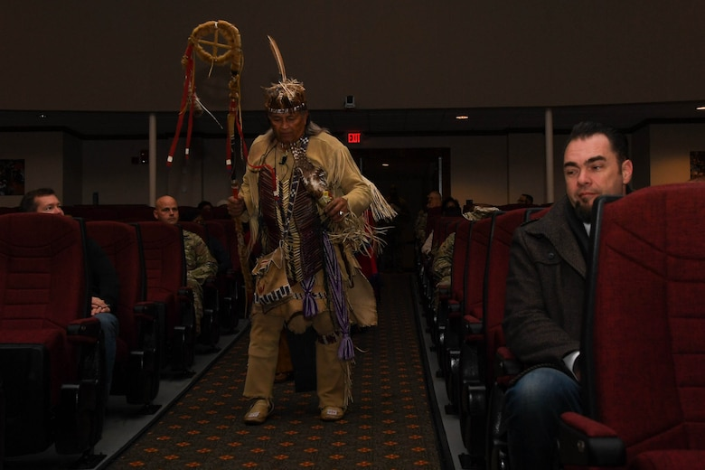 "Walter D. ""Red Hawk"" Brown III, Cheroenhaka (Nottoway) tribe chief, dances to traditional Native American music during the Native American Indian Heritage Month event at Joint Base Langley-Eustis, Virginia, Nov. 30, 2018. This year's theme was sovereignty, trust and resilience. (U.S. Air Force photo by Senior Airman Derek Seifert)"