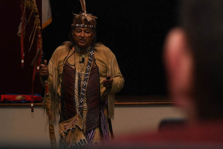 "Walter D. ""Red Hawk"" Brown III, Cheroenhaka (Nottoway) tribe chief, speaks during the Native American Indian Heritage Month event at Joint Base Langley-Eustis, Virginia, Nov. 30, 2018. Brown served in the U.S. Army for 28 years during the Vietnam and Desert Storm era before retiring as a lieutenant colonel. (U.S. Air Force photo by Senior Airman Derek Seifert)"