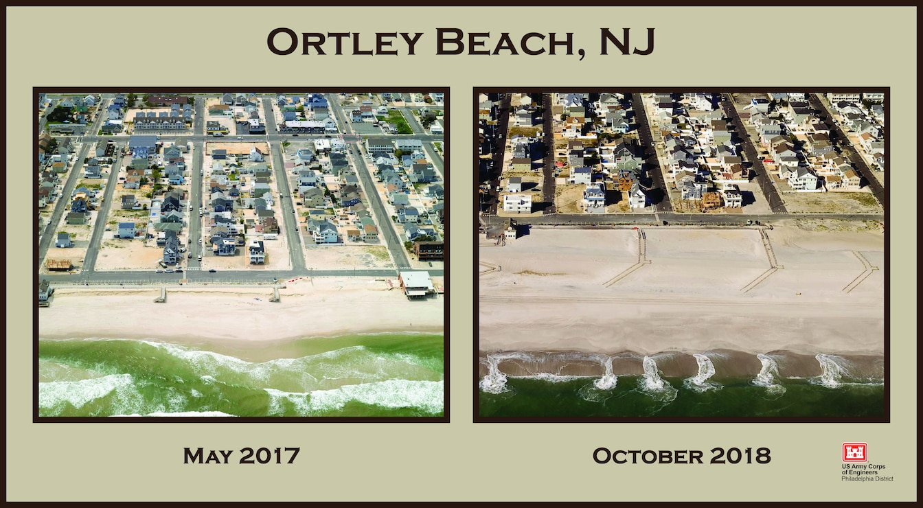 During Hurricane Sandy, Ortley Beach in Toms River Township was devastated. In 2018, the U.S. Army Corps of Engineers and its contractor built a protective dune and berm in the community as part of the Manasquan Inlet to Barnegat Inlet  project.