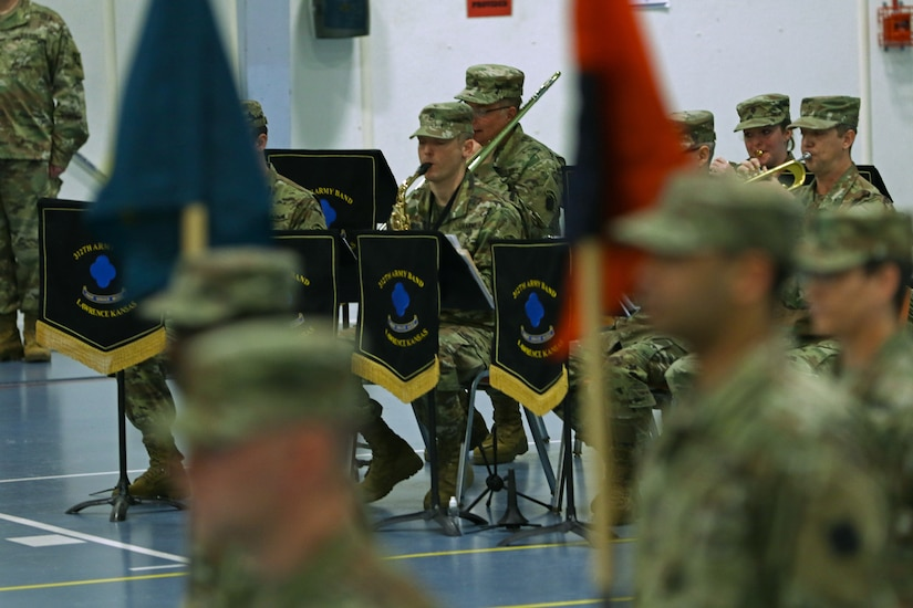 A performance group from the 312th Army Band, Lawrence, Kansas, plays the Blue Devil March at the end of the 88th Readiness Division change of command ceremony at Fort McCoy, Wisconsin, December 1, 2018.