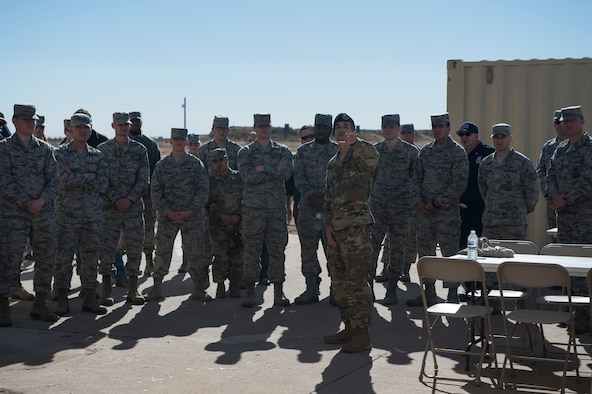 U.S. Air Force Maj. Nathaniel Lesher, 97th Security Forces Squadron commander, explains the purpose of the new Warrior Training Center