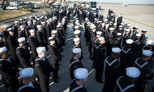 Sailors from the U.S.S. George H.W. Bush (CVN-77) stand at parade rest before the start of George H.W. Bush's state funeral on Joint Base Andrews, Md., Dec. 3, 2018.