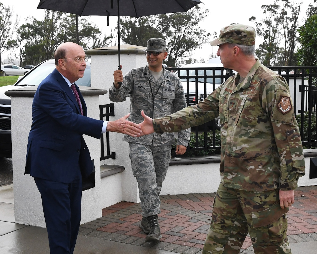 Deputy Joint Force Space Component Commander Maj. Gen. Stephen Whiting (right) greets U.S. Secretary of Commerce Wilbur Ross (left) during a visit at Vandenberg AFB, Calif., Nov. 29, 2018. Secretary Ross met with service members from the 18th Space Control Squadron, Combined Space Operations Center, Joint Force Space Component Command and U.S. Strategic Command to discuss Space Situational Awareness capabilities and space operations during a visit here Nov. 29-30. Secretary Ross also spoke with service members about the Department of Defense transitioning non-military aspects of Space Situational Awareness and space safety monitoring and responsibilities to the Department of Commerce. (U.S. Air Force photo by Maj. Cody Chiles)