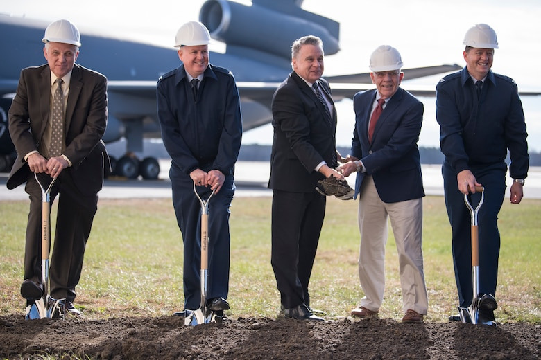 Base leaders and state representatives took part in the ceremony, which represented the beginning of an $82.5 million two-bay hanger construction, part of a larger $146.5 million project, to house 24 new KC-46 Pegasus refueling jets. The KC-46, set to start arriving the summer of 2021, will replace the base's current KC-10 Extender aircraft. (U.S. Air Force photo by Christian DeLuca)