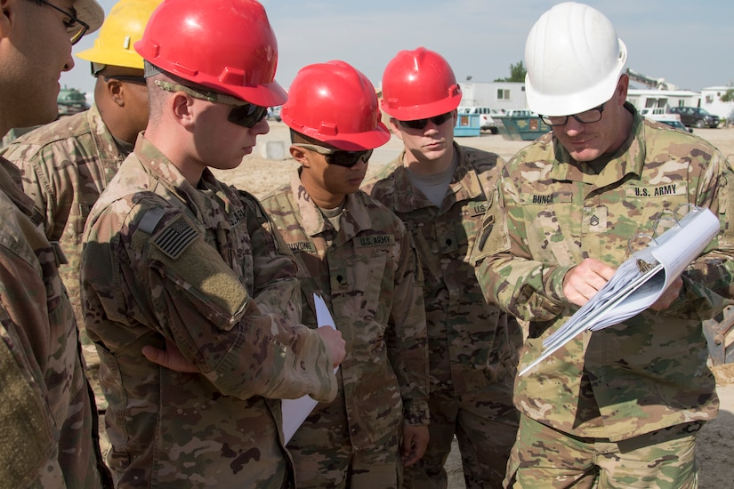 U.S. Army Staff Sergeant Justin Bunch, right, a platoon sergeant with the 526th Engineer Construction Company, 92nd Engineer Battalion, 28th Engineer Brigade, directs Soldiers on how to build a trapezoidal ditch at Camp Arifjan, Kuwait, Nov. 28, 2018. This ditch will help drain excess water more effectively to prevent flooding during heavy rainstorms, to keep personnel and equipment safe.