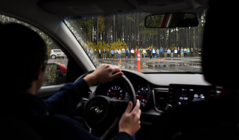 Ben Mize practices driving in unsafe conditions Dec. 1, 2018, during a teen driving course held at Joint Base Charleston, S.C.