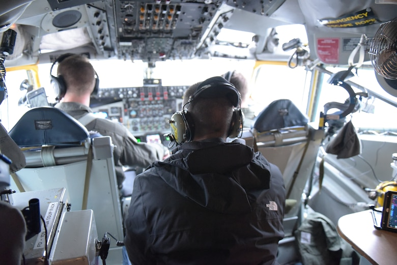 Spouses of 115th Fighter Wing Airmen were given the opportunity to fly along with 128th Air Refueling Wing crew members during a refueling training mission Nov. 30, 2018, Truax Field, Wis. Ted Sullivan rides in the cockpit while brother Lt. Col. James Sullivan, evaluator pilot assigned to the 128th ARW pilots during the training mission. (U.S. Air National Guard photo by Tech. Sgt. Mary E. Greenwood)