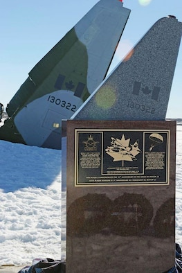 CANADIAN FORCES STATION ALERT, Canada – A memorial to the crew of a Canadian Air Force C-130 Hercules cargo plane, was dedicated Oct. 30, 2016, on the 25th anniversary of the crash that killed five Canadian service members. An Alaskan Air National Guard search and rescue team stationed at Elmendorf Air Force Base, Alaska, located the crash sit 30 hours later and rescued 13 surviving crew members. (Royal Canadian Air Force photo by Sgt. Paz Quille)