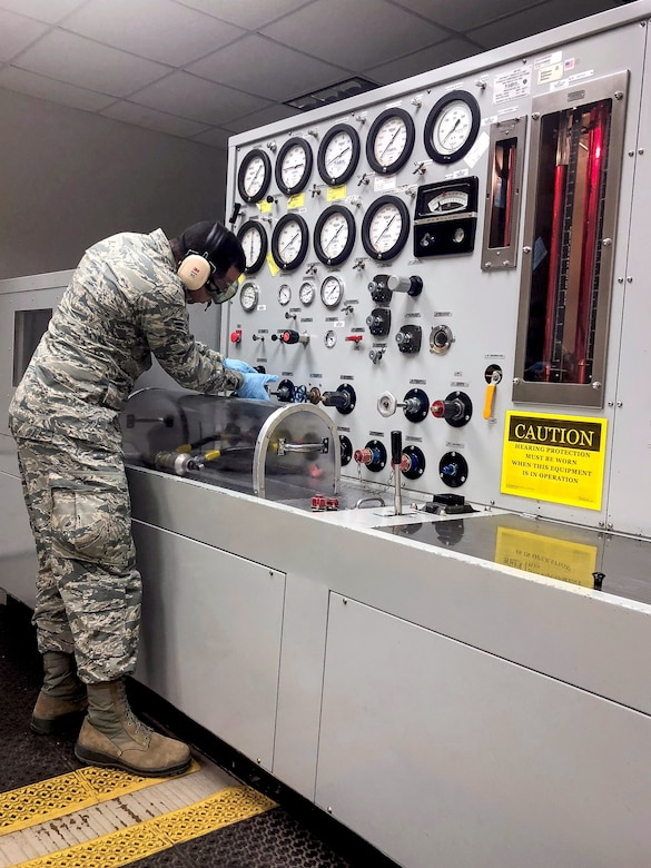 Airman 1st Class Josue Perez aces 364th Training Squadron aircraft hydraulic systems apprentice course