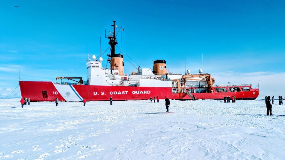Cutter floats in sea ice