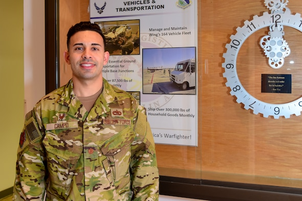 "Maj. Delwyn Campo, 47th Logistics Readiness Flight commander, stands in the foyer of the LRF building at Laughlin Air Force Base, Texas, Dec. 4, 2018. In this edition of the ""commander's corner,"" Maj. Campo uses the metaphor of eating proverbial frogs to illustrate ideas of mental toughness and resilience."