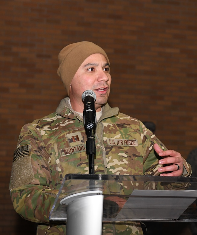 Capt. Benjamin Quintanilla, a 28th Bomb Wing chaplin, delivers a speech at the Freedom Chapel on Ellsworth Air Force Base, S.D., Nov. 30, 2018. Airmen and their families came out to celebrate the lighting of the base tree and to start the holidays in a festive and family-friendly environment where multiple religions were represented. (U.S. Air Force photo by Airman 1st Class Thomas Karol)