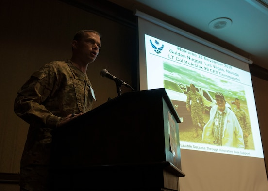 Lt. Col. Patrick Kolesiak, 99th Civil Engineer Squadron commander, speaks at the semi-annuak Native American meeting Golden Nugget in Las Vegas, Nov. 28, 2018. The discussion ensured tribal members had the latest information and status of the Final Legislative Environmental Impact Statement for the NTTR Land Withdrawal, published Oct. 26. (U.S. Air Force photo by Airman 1st Class Bryan T. Guthrie)