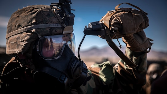 A U.S. Marine drinks water from a canteen during exercise Steel Knight (SK) 2019 at Marine Corps Base Camp Pendleton, California, Dec. 2, 2018.