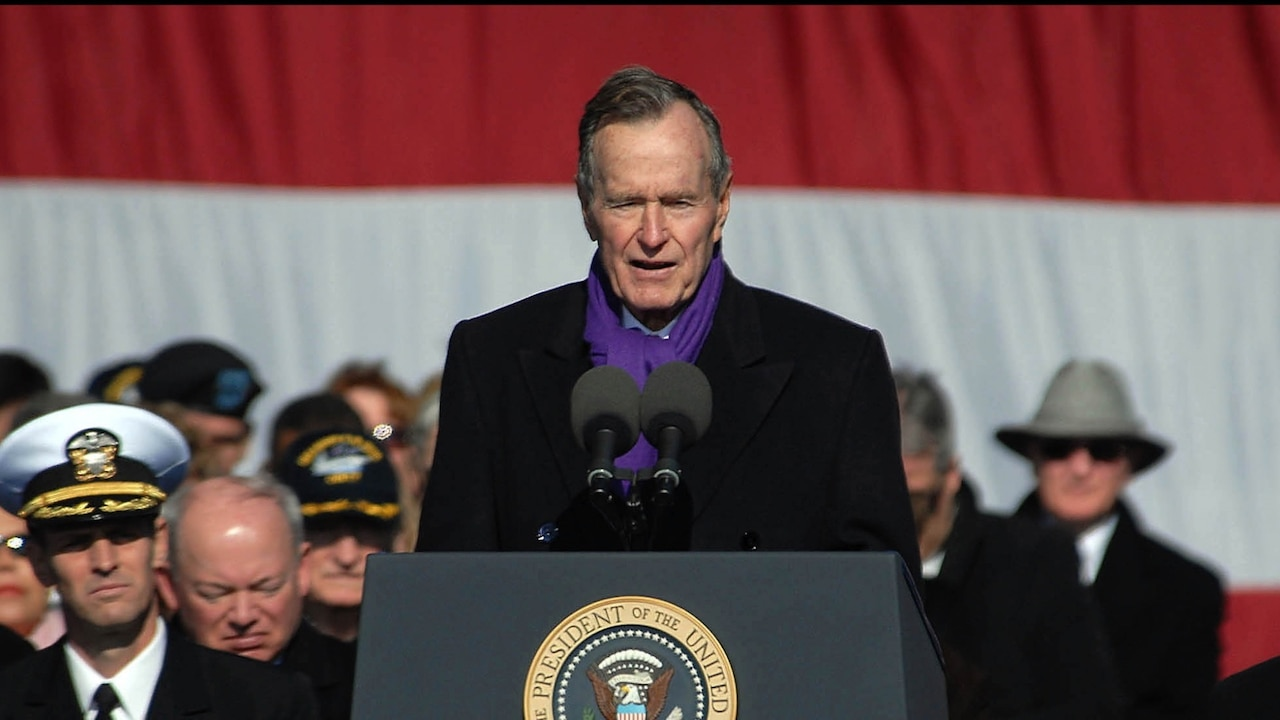 Former President George H.W. Bush SPEAKs at the commissioning ceremony for the aircraft carrier USS George H.W. Bush