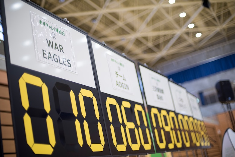 A board displays scores during the Misawa City Paralympics tribute event at the Misawa International Sports Center in Misawa City, Japan, Dec. 1, 2018. Throughout the day, attendees played goal ball and boccia which is a tactical game comparable to shuffle board, wheel chair basketball and sitting volleyball. (U.S. Air Force photo by Airman 1st Class Collette Brooks)