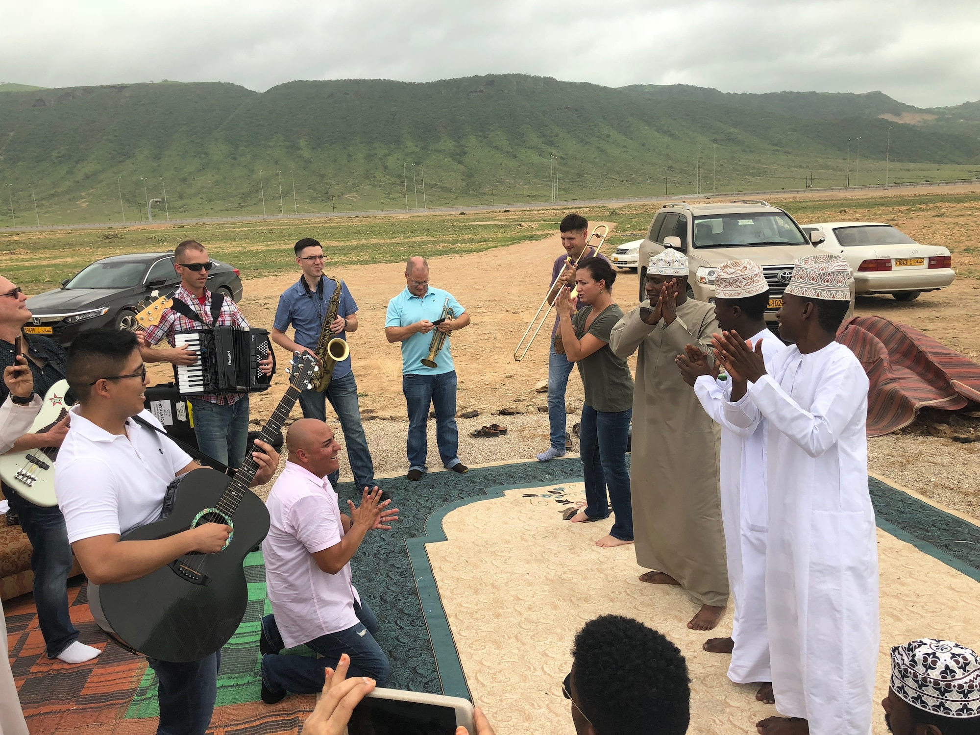 The U.S. Air Forces Central Command Band collaborates with local musician near Salalah, Oman Aug. 12, 2018. The U.S. Embassy in Oman organized the cultural exchange. The AFCENT Band has a mission to develop relationships across the U.S. Central Command area of responsibility on behalf of the United States and the United States Air Force. (U.S. Air Force photo by Capt. Dustin Doyle)