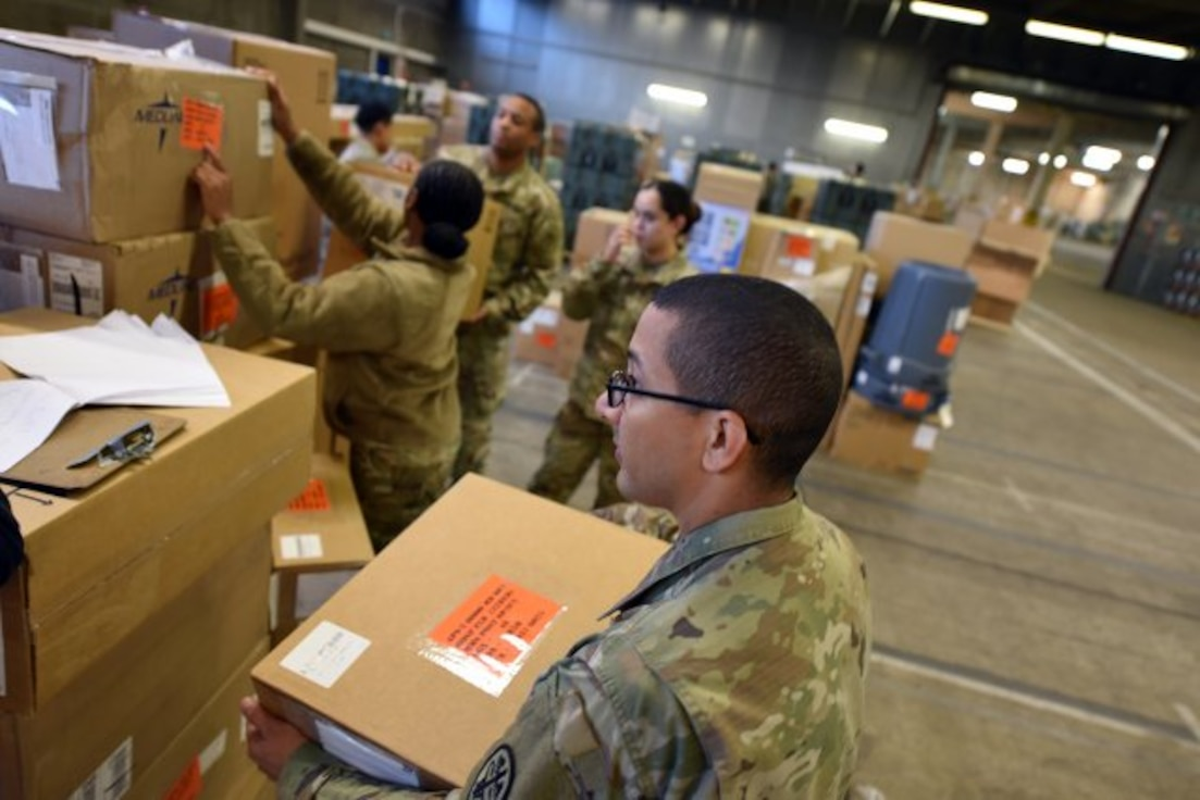 Soldiers from the U.S. Army Medical Research and Materiel Command complete an inventory of medical equipment and supplies being stocked at Army Prepositioned Stock 2 (APS-2) Nov. 20, in support of European theater readiness. APS-2 includes more than 280 medical sets to support a wide range of operational medicine capabilities, from forward resuscitative surgical teams to field hospitals