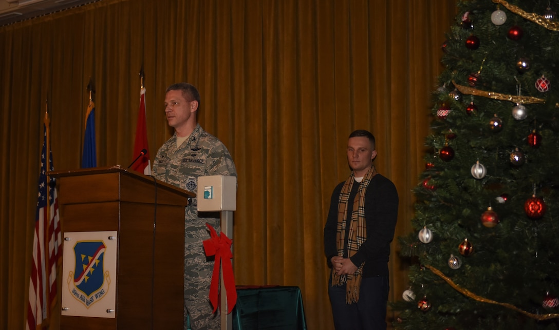 Col. Britt Hurst, 39th Air Base Wing commander, gives opening remarks during a holiday tree lighting ceremony at Incirlik Air Base, Turkey.