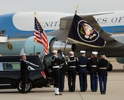 U.S. service members support the departure of former President George H. W. Bush on Joint Base Andrews, Md., Dec. 5, 2018.